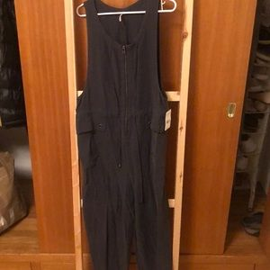Free People washed black utility overalls